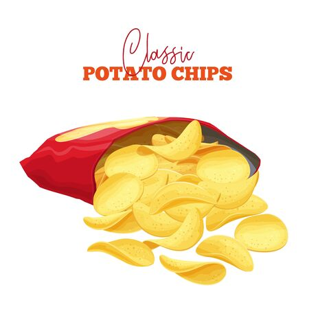 A bunch of potato chips spilled out of the package. Crispy snack, potato in the form of crispy plates fried in vegetable oil. Pile of snack chips close-up. Illustration