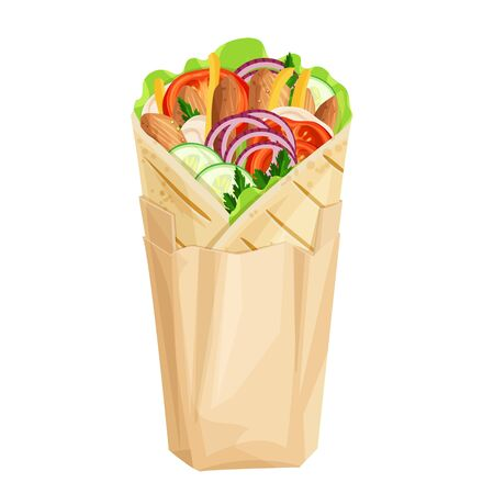 Shawarma or chicken wrap in paper packaging vector icon. Turkish fast food with meat and vegetables in pita bread. Meal on the grill llustration.