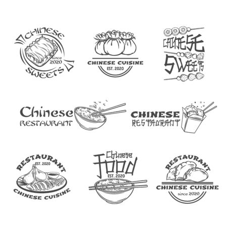 Chinese cuisine outline labels set. Asian food engraved badges vector illustration. Peking duck, dumplings, wonton, rice, Dragon's beard candy and tanghulu icons. Illusztráció