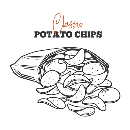 A bunch of potato chips spilled out of the package outline vector . Crispy snack, potato in the form of crispy plates fried in vegetable oil. Pile of snack chips close-up. Illustration