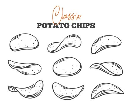Potato chips set outline vector illustration. Crispy snack, potato in the form of crispy plates fried in vegetable oil. Snack chips collection close-up. Vettoriali