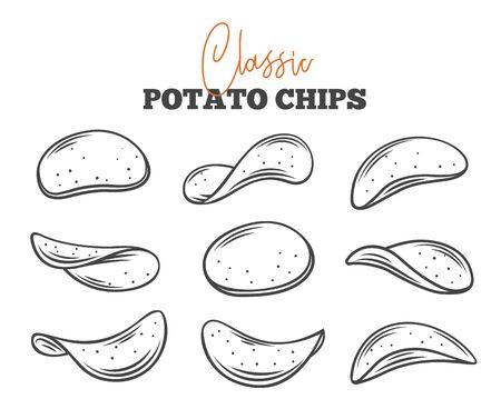 Potato chips set outline vector illustration. Crispy snack, potato in the form of crispy plates fried in vegetable oil. Snack chips collection close-up. Illustration