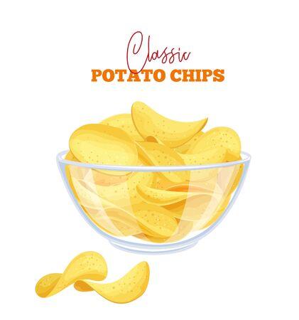 Bowl of potato chips vector illustration. Crispy snack, potato in the form of crispy plates fried in vegetable oil. Pile of snack chips close-up. Illustration