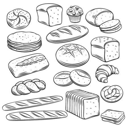 Bakery breadoutline vector of rye, whole grain and wheat bread, pretzel, muffin, pita , ciabatta, croissant, bagel, toast bread, french baguette for design menu bakery. Vector Illustration