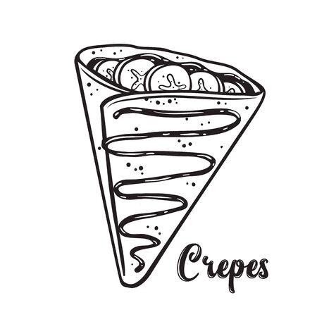 Crpes mit Bananen und Schokolade, Pfannkuchen skizzieren Vektorgrafik für Café oder Restaurant.
