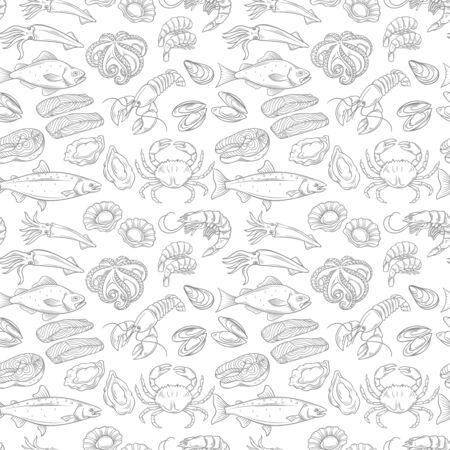Hand drawn sea food seamless pattern. Vector illustration.