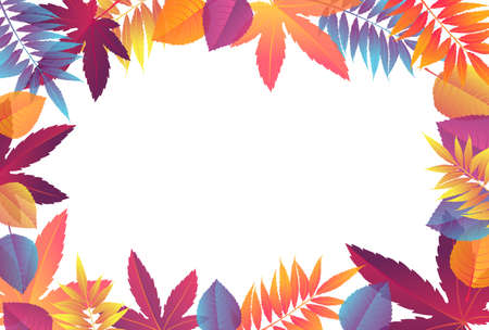 Fall sale frame with bright autumn foliage of maple, oak, elm and chestnut. Autumn vector illustration with fall leaves. Illustration