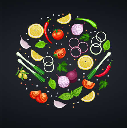 Spices, herbs and vegetables for design recipes. Lemon, lime, onion and pepper. Basil, Spinach and Cilantro. Vector illustration. Vektorgrafik