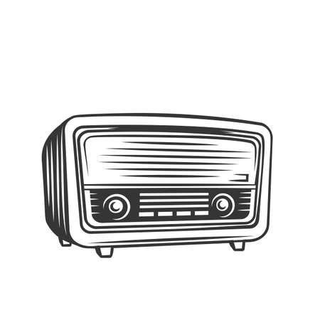Old radio monochrome icon. Retro radio receiver of the last century vector illustration.