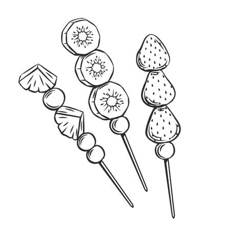 Tanghulu outline icon. Chinese candied fruit on the stick. Asian traditional sweets engraved vector illustration. 일러스트