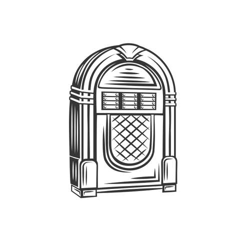Retro jukebox monochrome icon. Vector illustration of fifties rock and roll hits, vintage juke box badge.