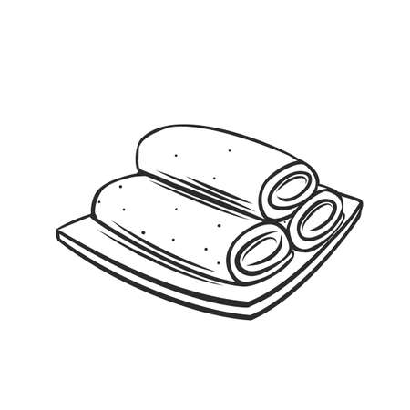 Spring roll chinese cuisine outline icon. Asian food engraved vector illustration. Vetores