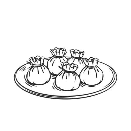 Wonton chinese cuisine outline icon. Asian food engraved vector illustration.