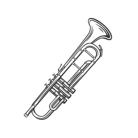 Trumpet outline icon. Jazz musical instrument in retro style. Vector illustration.