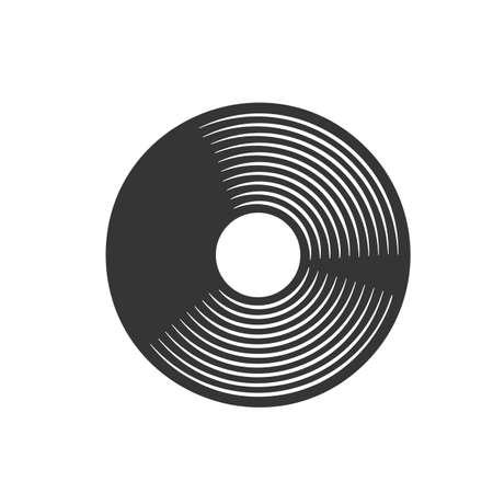 Vinyl LP record retro icon. Musical plate vintage badge vectro illustration.