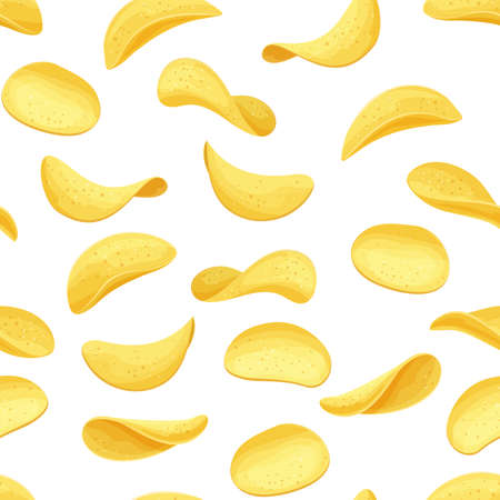 Potato chips seamless pattern. Crispy snack, potato in the form of crispy plates fried in vegetable oil. Snack chips vector background close-up. Ilustracja