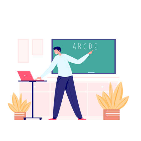 Online class meet vector concept. Male young school teacher, college tutor coach talking in classroom and giving online language class. Virtual teaching remote class online lesson on laptop. Ilustração