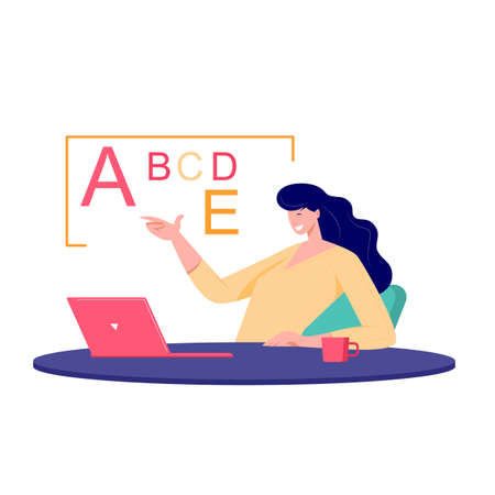 Online class meet vector concept. Female young school teacher, college tutor coach talking in classroom and giving online language class. Virtual teaching remote class online lesson on laptop. Ilustração