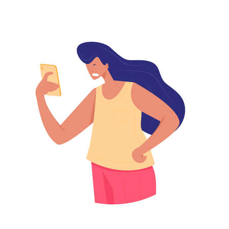 Irritated young woman looks at the screen of her phone. Vector illustration of girl with stunned emotion on face in flat style.