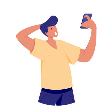 Shocked and surprised young man looking at smartphone. Close up guy, looking agitated at display smartphone opened his mouth in surprise, impressed by media content from web. Vector illustration.