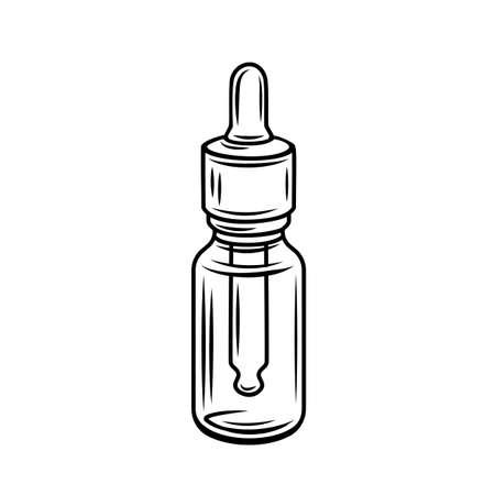 Vector cannabis buds in glass jbottle outline icon. Ligalized smoking drug symbol, marijuana herb for medical design. Engraved vector illustration.