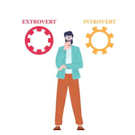 Man thinks standing about extrovert or introvert. Human psychology concept, flat vector illustration. Illusztráció