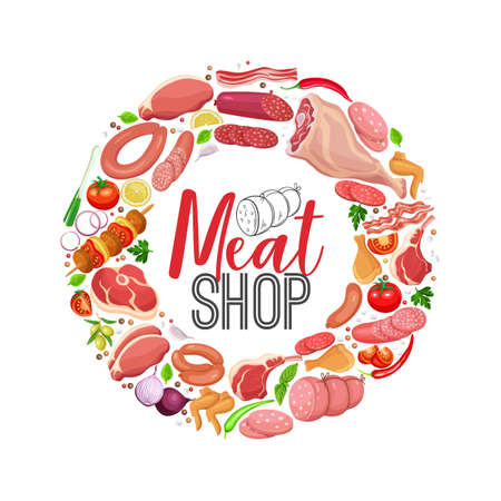 Meat products with vegetables and spices round banner template for food meat production, brochures, banner, menu and shop design. Vector Illustration. 向量圖像