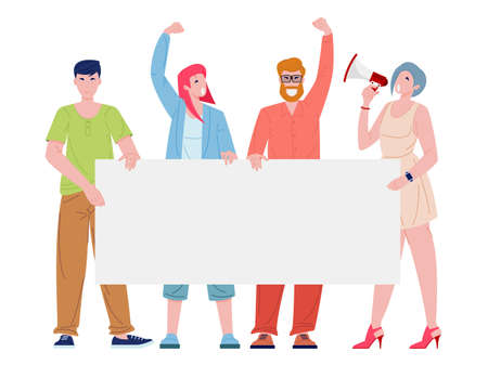 Group of protesting young people. Men and women holding blank banner or poster. Protesters and activists flat cartoon character vector illustration.