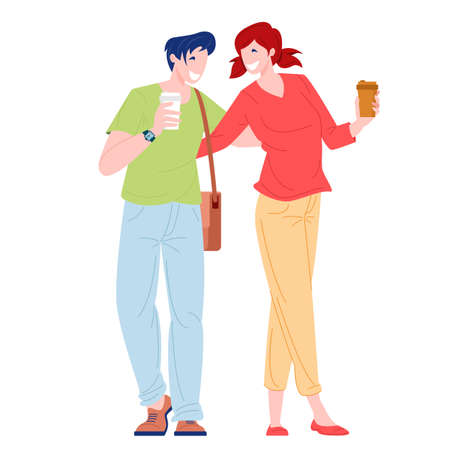 Romantic couple young woman and man walking with coffee. Love and family relationships concept. Flat cartoon character vector illustration.