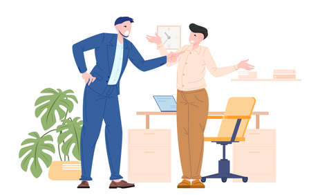 Boss bullying to their employee, manager angry at work. Vector illustration flat style of man worker get bully from his office mate. Иллюстрация