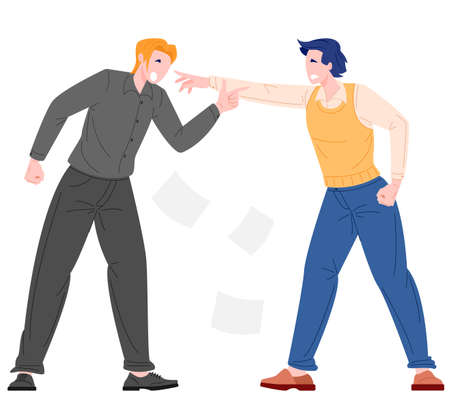 Social bullying concept between office workers. Vector illustration flat style of men worker get bully from his office mate.