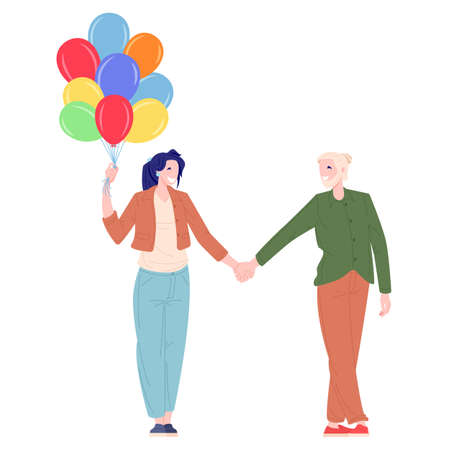 Romantic couple young woman and man walking with balloons. Love and family relationships concept. Flat cartoon character vector illustration.