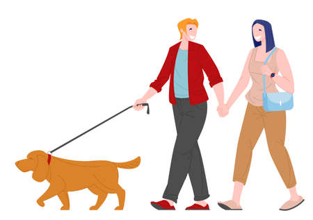 Romantic couple young woman and man walking with dog. Love and family relationships concept. Flat cartoon character vector illustration. 向量圖像