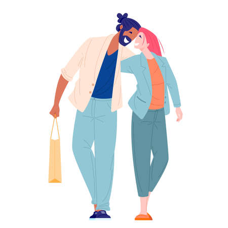 Romantic couple young woman and man walking and hugging. Love and family relationships concept. Flat cartoon character vector illustration. 向量圖像