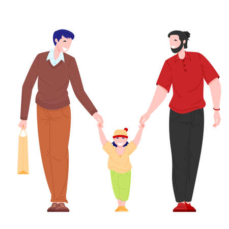 same sex family concept. Couple of young men and male kid walk outdoor. Flat cartoon character vector illustration.