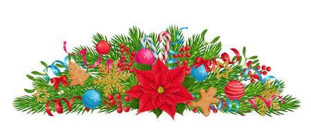 Xmas composition with poinsettia, fir tree branches, christmas balls, holly berries, mistletoe, golden snowflakes, and gingerbreads. New year detailed decoration, vector illustration isolated on white
