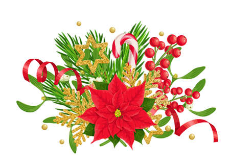 X-mas composition of poinsettia, fir twig, holly berries and mistletoe with golden snowflakes, candy cane. Christmas colorful traditional decoration, vector illustration isolated on white. Ilustração