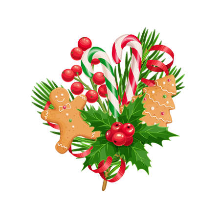 Christmas composition of spruce twig, gingerbread man and tree, holly, serpentine, candy canes. Christmas decorative colorful set, vector realistic illustration isolated on white for New Year postcard Ilustração