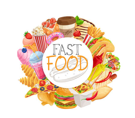 Fast food circular frame of takeaway products vector realistic illustration with lettering for cafe design. Street food round border of burger, shawarma, wok noodles, pizza, etc. Unhealthy nutrition.