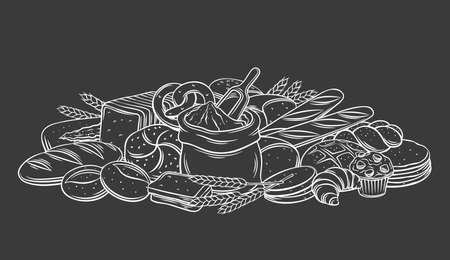 Breads, baked products on black chalkboard, vector monochrome outline hand drawn illustration in sketch style. Engraved bag of flour, loaf, whole grain bread, french baguette. Design menu bakery shop. Иллюстрация