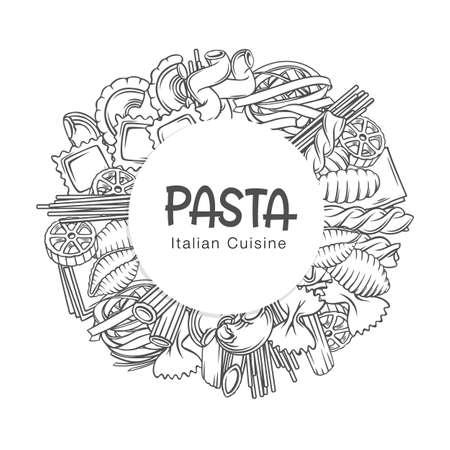 Pasta circle frame hand-drawn vector monochrome outline illustration on white with lettering for wrapping and ad. Decorative round border of macaroni spaghetti, lasagne, ravioli, fusilli, rotini, etc.