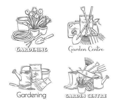 Gardening tools vector outline hand drawn monochrome set with lettering for design garden center. Horticulture equipment, pots flowers, wheelbarrow, watering can, shovel, rake, gloves, etc. Ilustração