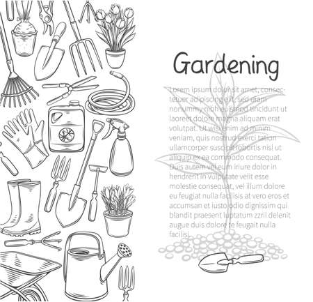 Gardening tools poster, outline hand drawn monochrome vector isolated illustration with lettering and diverse equipment rubber boots, seedling, watering can, wheelbarrow etc for design garden center.