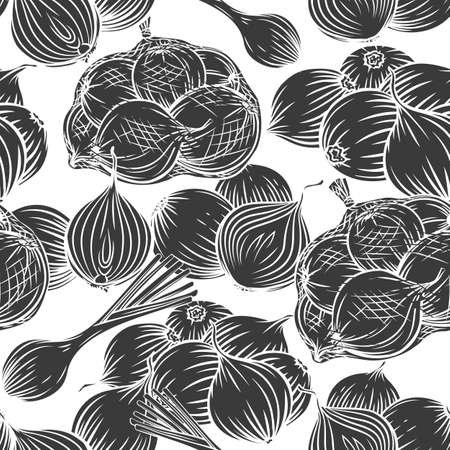 Onion bulbs, leek, seamless pattern glyph vector monochrome engraved illustration for wrapping design, advertising farm products market. Onions whole and halfs, heap packed in net bag.