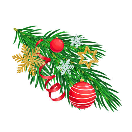 Christmas tree branch with christmas decorations. Fire or pine branch decorated xmas ornament for winter holiday design