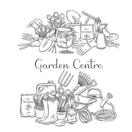Gardening tools banners vector outline hand drawn monochrome for design garden center. Horticulture equipment, pots flowers, wheelbarrow, watering can, shovel, rake, gloves, etc.