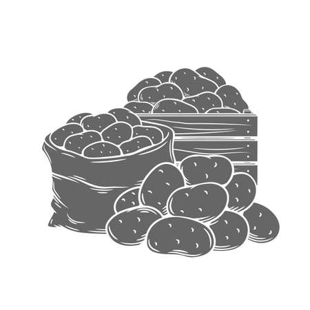 Potato tubers monochrome glyph vector illustration in retro style for store ad. Farm potatoes in wooden box, burlap sack, bunch. Harvested root crops isolated on white.
