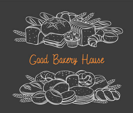 Breads baked products black chalkboard banner, vector hand drawn illustration white on black for bakery. Loaf, croissant, toast, ciabatta, pretzel, etc, bakehouse assortment and advertisement.