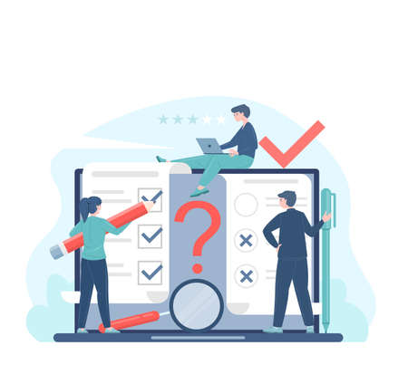 Online voting or survey concept flat vector illustration with voters making decisions. Electronic voting system for election and survey. Man and woman characters make a testing using laptop. Vektoros illusztráció