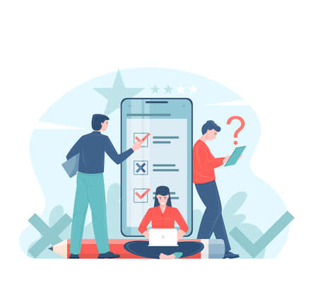 Online voting or survey concept flat vector illustration with voters making decisions. Man and woman characters make a testing using an application on a mobile phone, social projects.